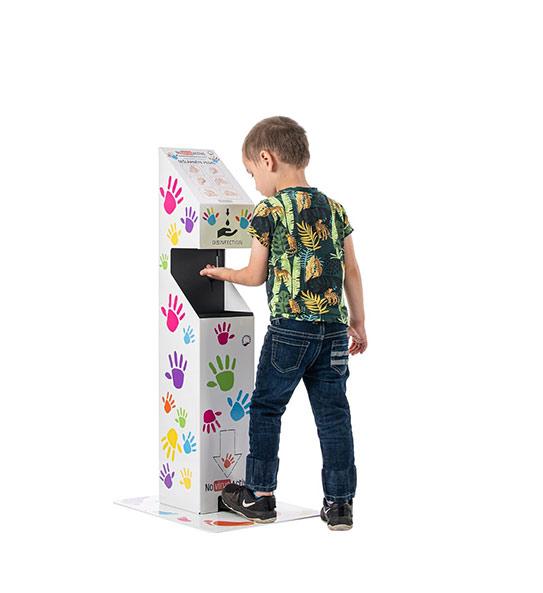 Dezinfekční stojan na ruce verze pro děti designový návrh ukázka v praxi-novirusactive